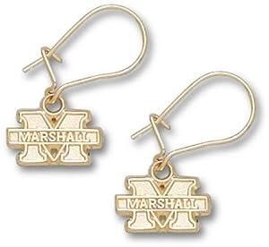 Marshall Thundering Herd 1 4 M Marshall Dangle Earrings - 14KT Gold Jewelry by Logo Art