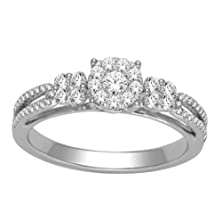 buy 1/2Ct Diamond Engagement Ring 10K White Gold 6Mm Wide Split Shoulder Style( 0.5Cttw)