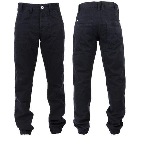 Eto Denim Cuffed Regular Carrot Fit Chinos Trousers Navy Blue Mens Waist 32