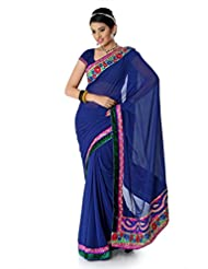 Designersareez Women Chiffon Embroidered Dark Blue Saree With Unstitched Blouse(1357)
