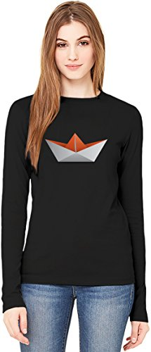 Orange Origami Boad T-Shirt da Donna a Maniche Lunghe Long-Sleeve T-shirt For Women| 100% Premium Cotton Ultimate Comfort X-Large