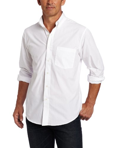 IZOD Men's Big and Tall Long Sleeve Essential Solid Shirt, White, 4X-Large/Tall Big Tall Dress Clothes