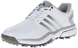 adidas Women\'s W Adipower Boost Golf Shoe, Running White/Silver Metallic/Flash Purple, 7.5 M US