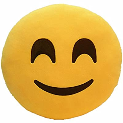 LI&HI 32cm Emoji Smiley Emoticon Yellow Round Cushion Pillow Stuffed Plush Soft Toy (Friendly) by LI&HI
