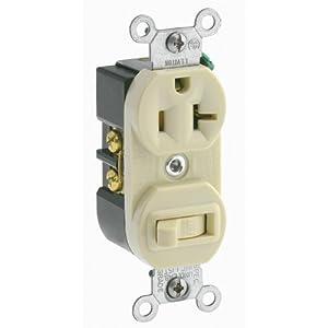 leviton 5335 20 amp 120 volt duplex style combination single pole switch receptacle grounding