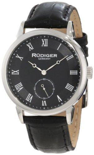 Rudiger Men's R3000-04-007L Leipzig Black Leather Black Dial Roman Numeral Watch