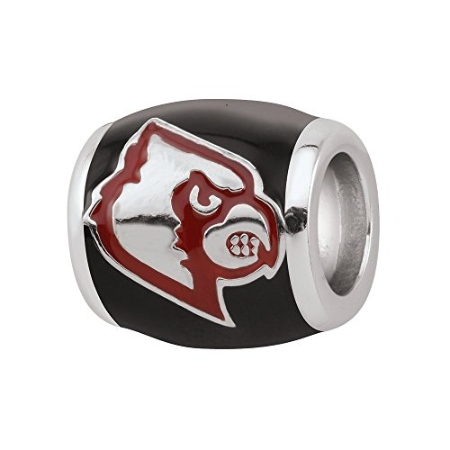 Persona Sterling Silver University of Louisville Red Cardinal Black Bead Charm