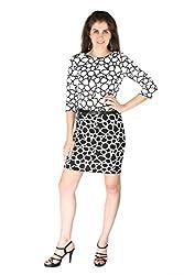La Vida Women's Dress (SS15KD11001LAFLWHS_White Black_Small)
