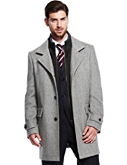 Collezione Wool Blend Mock Layered Herringbone Striped Coat