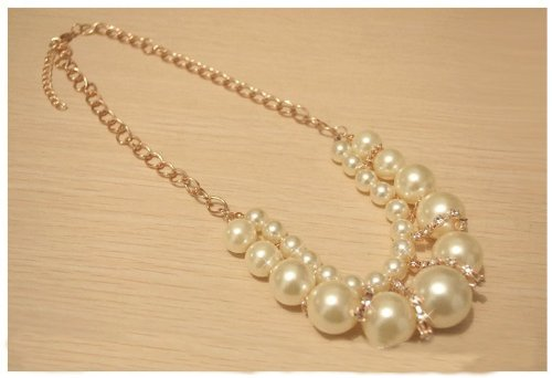 Artificial Pearl Shiny Diamond Necklace Graceful Fake Collar Necklace
