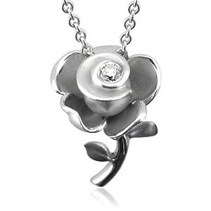 Sterling Silver Rose Flower Diamond Pendant Necklace (GH, I1-I2, 0.12 carat)