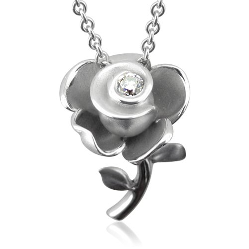 Sterling Silver Rose Flower Diamond Pendant Necklace (GH, SI3-I1, 0.12 carat)