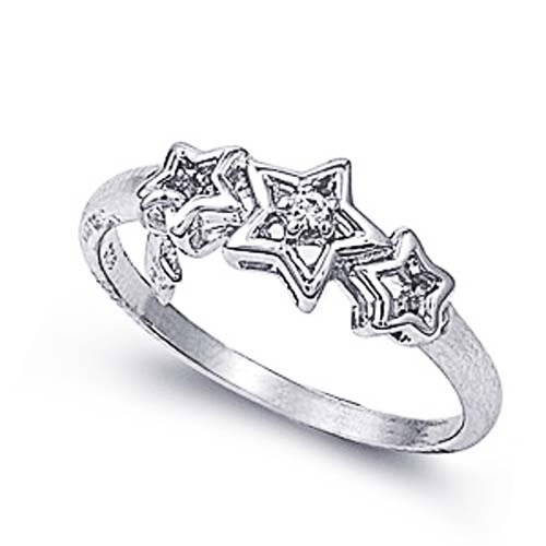 Rhodium Plated Sterling Silver Wedding & Engagement Ring Clear CZ Stars Ring 6MM ( Size 5 to 9) Size 6