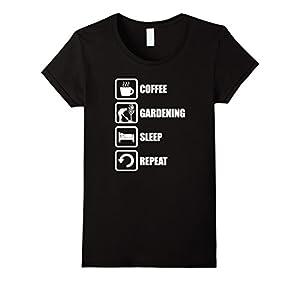 Women's Coffee gardening sleep repeat shirts XL Black