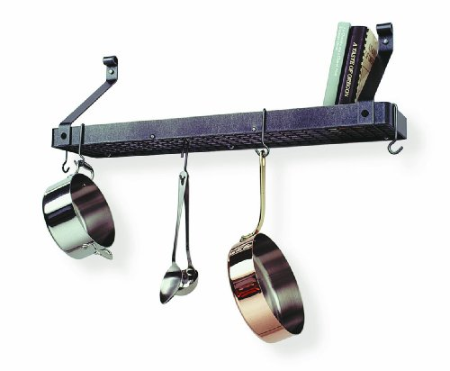 Enclume Premier Deep Bookshelf Wall Pot Rack, Hammered Steel
