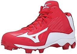 Mizuno Men\'s 9 Spike ADV FRHSE 8 Mid Baseball Cleat, Red/White, 7.5 M US