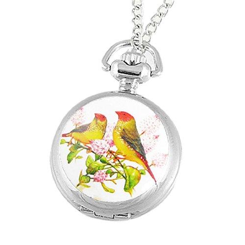 Rosallini Bird Flower Print Cover Round Necklace Watch for Women