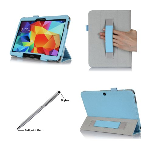 ProCase Samsung Galaxy Tab S 10.5 Case - Tri-Fold Folio Book Cover Case exclusive for 2014 Galaxy Tab S Tablet (10.5 inch, SM-T800) with Hand Strap, auto Sleep/Wake (Blue)