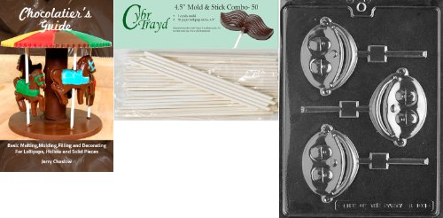 Cybrtrayd 'Baby Boy Lolly' Kids Chocolate Candy Mold With 50 4.5-Inch Lollipop Sticks And Chocolatier'S Guide front-904717