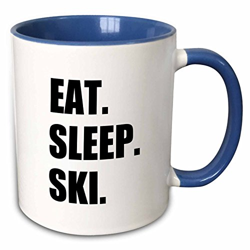 3dRose InspirationzStore Eat Sleep series - Eat Sleep Ski - skiing enthusiast passionate skier - sport black text - 11oz Two-Tone Blue Mug (mug_180441_6) (Skiing Coffee Cup compare prices)