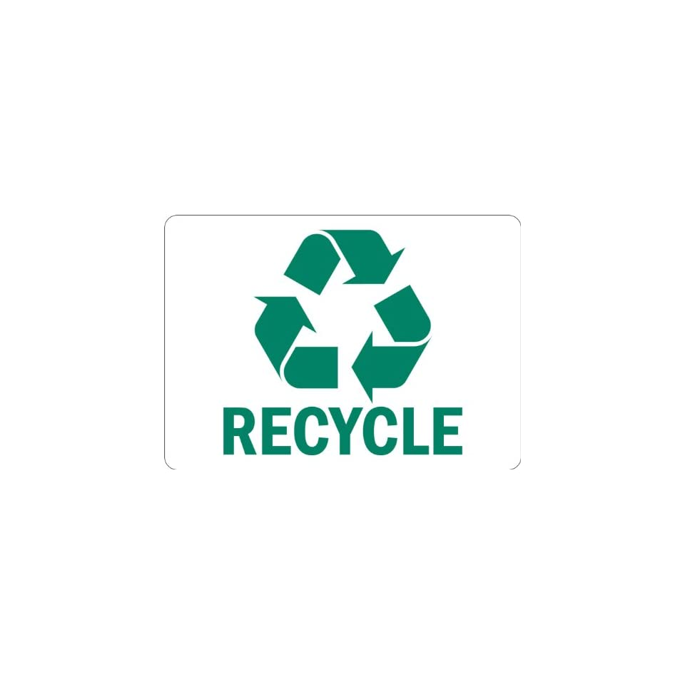 SmartSign Adhesive Vinyl Label, Legend Recycle with Graphic, 3.5 high x 5 wide, Green on White