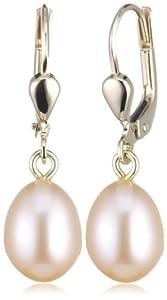 Bella Donna Damen Perlen Ohrhänger 585/000 Gelb-Gold 2 Süßwasserzucht-Perlen 7,5 - 8,0mm pfirsichfarben 900127