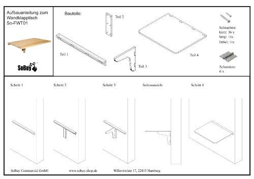wandklapptisch klapptisch holztisch esstisch aus holz 75x60cm. Black Bedroom Furniture Sets. Home Design Ideas