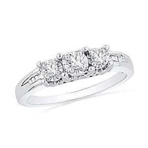Platinum Plated Sterling Silver Baguette and Round Diamond Three Stone Ring (1/6 cttw)