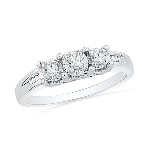 Sterling Silver Baguette and Round Diamond Three Stone Ring (1/6 cttw)