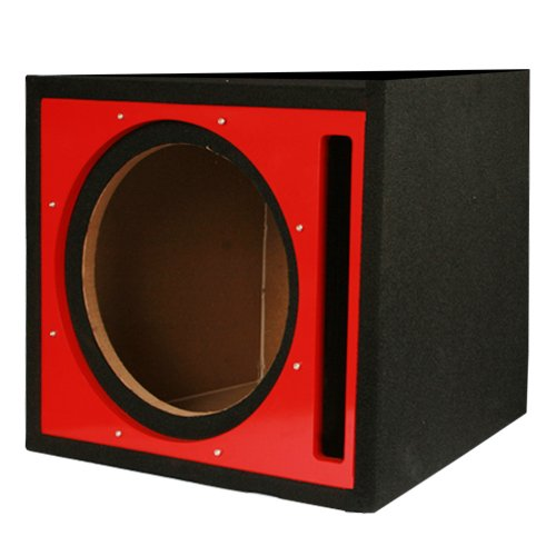 Absolute Usa Pseb10R Single 10-Inch Ported Subwoofer Enclosure With Red High Gloss Face Board
