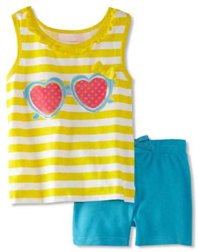 Kids Headquarters Girls 2-6X Striped Top With Blue Shorts, Yellow, 6X