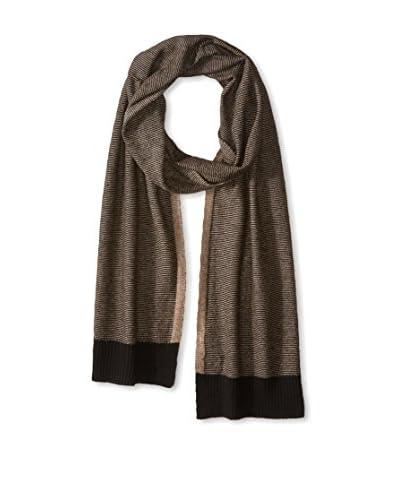 Cullen Men's Cashmere Knit Scarf, Black/Mocha