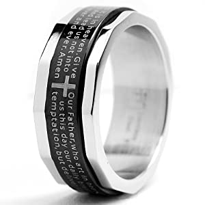 Two Tone Stainless Steel Ring with Lords Prayer and Cross Design Size 9