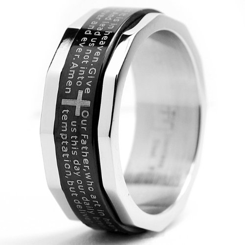 Two Tone Stainless Steel Ring with Lords Prayer and Cross Design Size 11.5