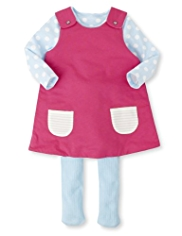 3 Piece Cotton Rich Reversible Pinafore, T-Shirt & Tights Outfit