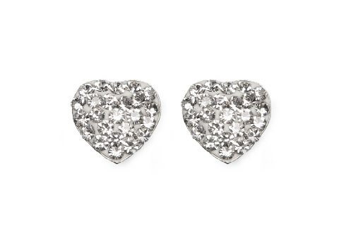 Silver Crystal Pave Heart Stud Earrings