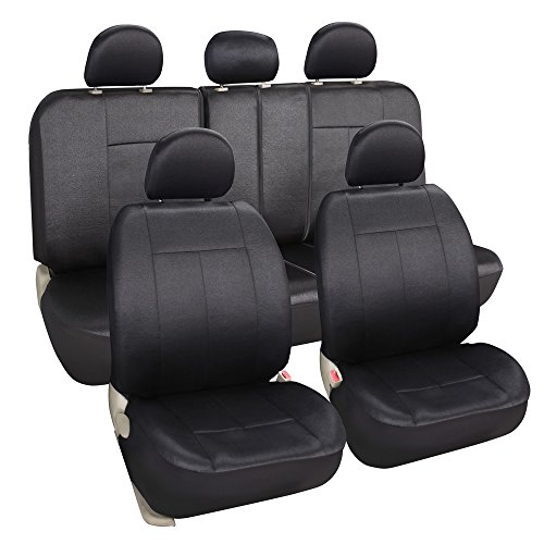 Leader Accessories 11pc Set Embossed Poly Cloth / Auto Solid Black Seat Covers Set - Airbag Compatible - Front Low Back Buckets - 50/50 or 60/40 Rear Split Bench (60 40 Bucket Seat Covers compare prices)