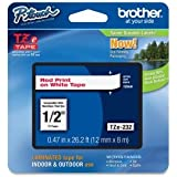 """Brother 1/2"""" Laminated Red on White Tape (1/Pkg) (26.2 Ft.) For use in TZ P-Touch: All TZ Machines 1/2"""" Tape Lamin Rd on Wt, Part Number TZE232"""