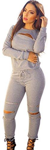 FQHOME Womens Grey Fashion Sporty Zipped Pants Set Size L