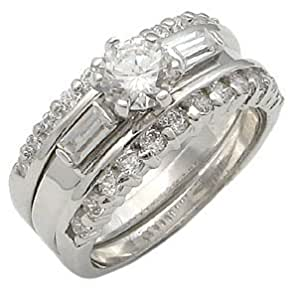 Com CZ WEDDING RINGS Triple Stackable CZ Wedding Set 015 Jewelry