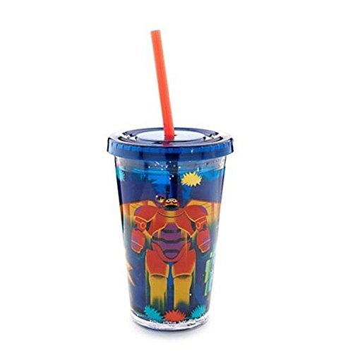 New Disney Big Hero 6 Tumbler Hiro, Baymax Mech, Wasabi, Honey Lemon, Go Go, and Fredwith Straw