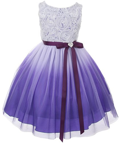Tulle Rosette Spring Easter Flower Girl Dress In Ombre Purple - 14