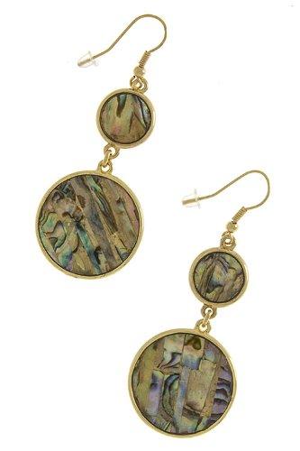 Karmas Canvas Round Nacre Dangle Earrings front-1000449