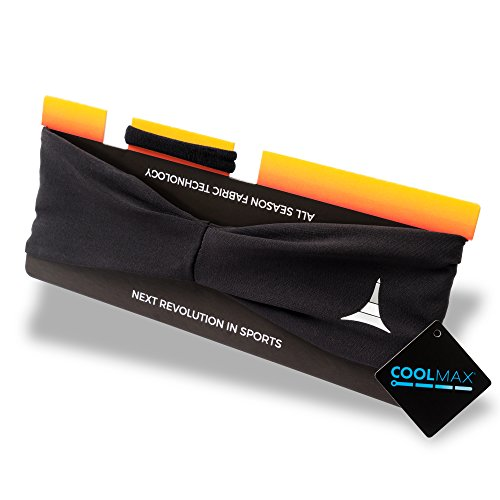 """Sporty Touch 4"""" Men Headband / Sweatband for Sports, Running, Workout, Yoga + Elastic Hair Band - Ultimate Performance"""