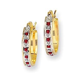 Genuine IceCarats Designer Jewelry Gift Sterling Silver & Gold-Plated Dia. & Ruby Oval Hoop Earrings In Sterling Silver