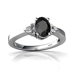 Genuine Black Onyx 14ct White Gold Ring - Size M