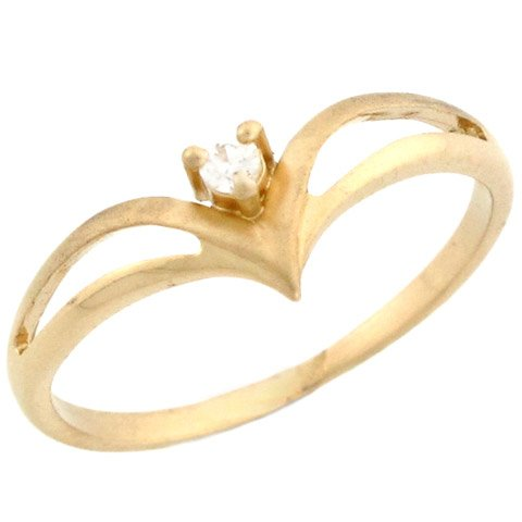 14k Yellow Gold Beautiful Round Solitaire Diamond Promise Ring