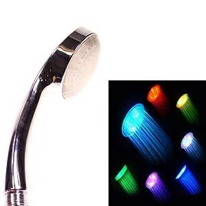 Pommeau de douche neuve de qualité douchette colorée avec éclairage de 5 LED de couleurs verte bleue et rouge Kurtzy TM