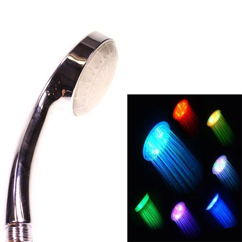 New Premium Colourful Colour Changing Green Blue Red 5 Bright Illuminating Luminous Led Shower Head Bathroom Water Faucet Light By Kurtzy Tm