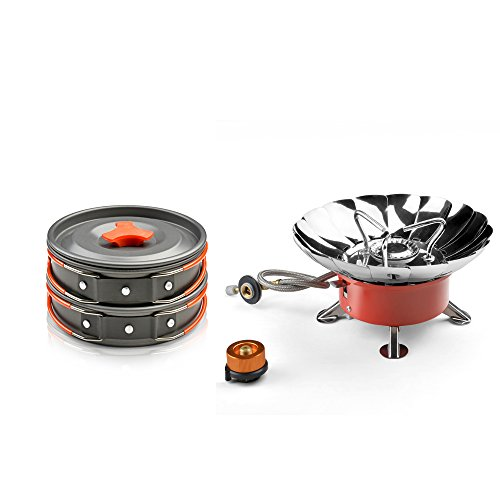 Windproof Camping Stove and Cooking Equipment 8 Piece Cookset - ODOLAND Camping Cookware Mess Kit with Lightweight Pot Pan Bowls for Hiking Outdoor Backpacking Gear (Cook Stove For Camping compare prices)